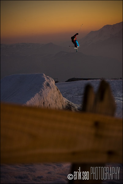 Anna Segal jumping at sunset in the terrain park at El Colorado, Chile