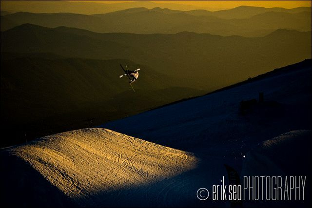 Tom Wallisch jumping at Windell's Camp at Mt. Hood, OR shooting with Level 1 Productions