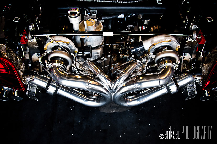 The exhaust, turbo, intake and intercooler plumbing all mounted up and ready to go