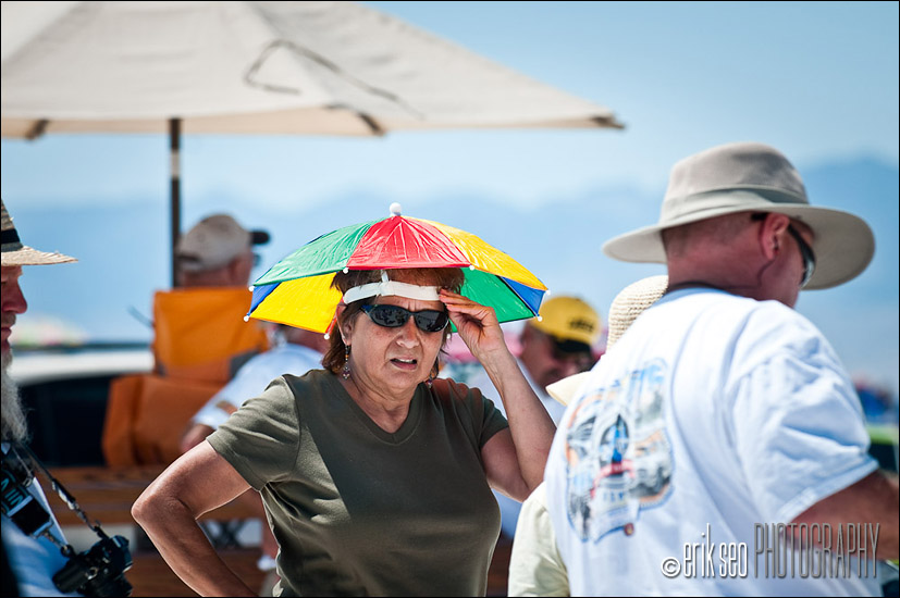 The things people wear to escape the heat out on the Bonneville Salt Flats...