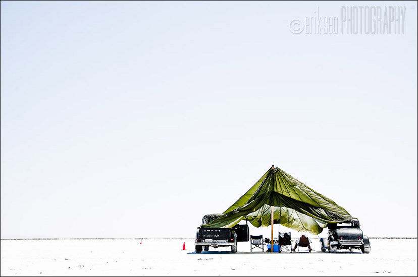 One of the many hundreds of tents and RV's lining the perimeter of the race course at the Bonneville Salt Flats for the 2010 Speed Week in Wendover, Utah