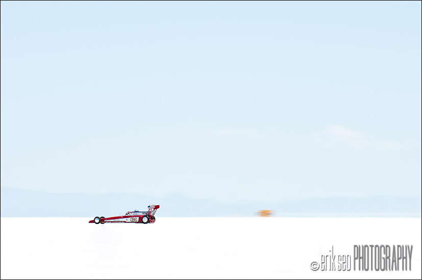 Racing past mile 4 on the 14 mile course at the Bonneville Salt Flats for the 2010 Speed Week in Wendover, Utah