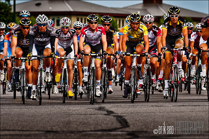 Racers at the start of Stage 2 of the Tour of Utah cycling race at Thanksgiving Point, Utah