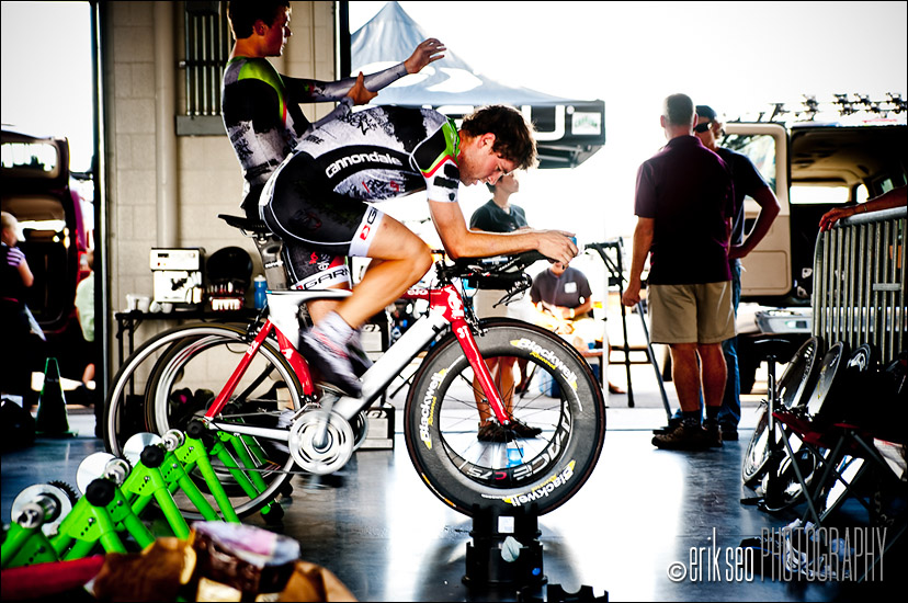 Racers warming up for the Time Trials at Miller Motorsports Park for Stage 3 of the Tour of Utah