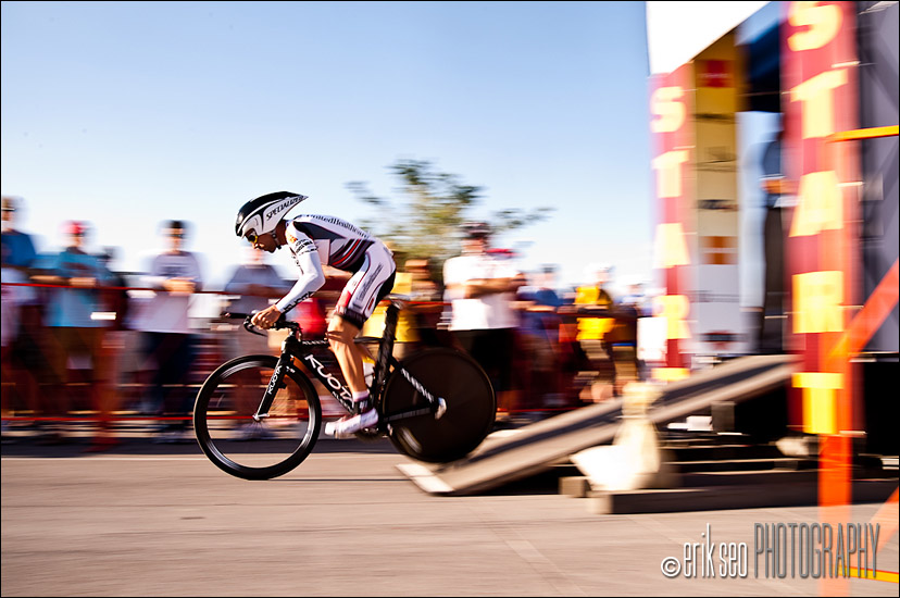 Speeding out of the start gate at Miller Motorsports Park for Stage 3 of the Tour of Utah
