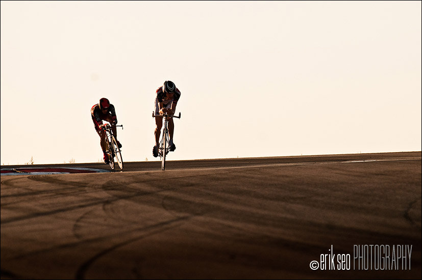 A racer about to overtake another through the Attitudes at Miller Motorsports Park during Stage 3 of the Tour of Utah