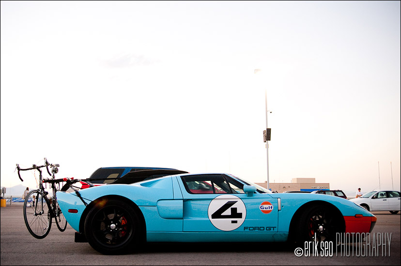Being a fan of race cars, this was a tough one to see.  A bike rack on a Ford GT.......