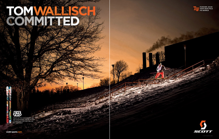 Scott USA Ad - Tom Wallisch - 2011 Freeskier Magazine Buyer's Guide - 2 page spread