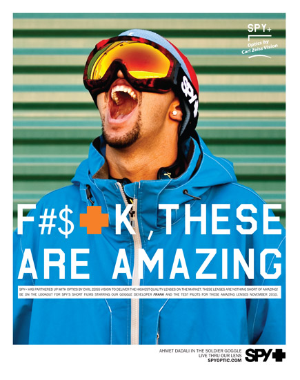 Spy Optics Ad - 2011 Freeskier Magazine Buyer's Guide - Back Cover - Ahmet Dadali