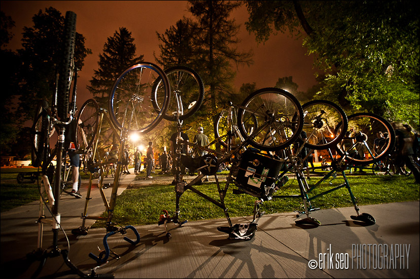 Tall bikes in Liberty Park before the joust.