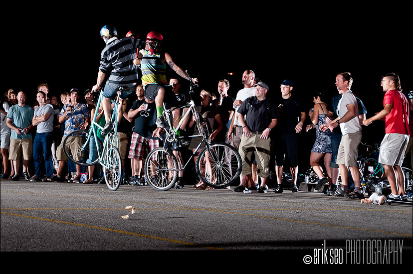 Cody Barnhill (left) getting throttled by Dex Mills (right).  Notice the front wheel of Cody's bike being lifted in the air from the impact!
