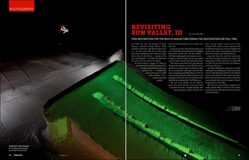 Tom Wallisch at Sun Valley Resort - pp45-46 - October 2010 Freeskier Magazine