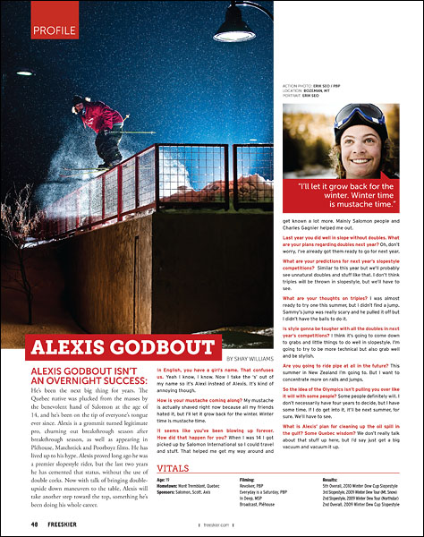 Alexis Godbout in Bozeman, MT with PBP - pp48 - October 2010 Freeskier Magazine