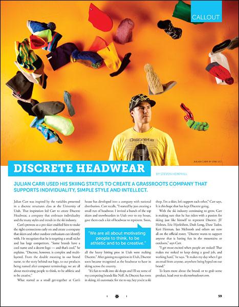 Julian Carr of Discrete Headwear - p59 - October 2010 Freeskier Magazine