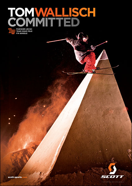 Ad 2 of 3 in a Scott campaign of Tom Wallisch - October 2010 Freeskier Magazine