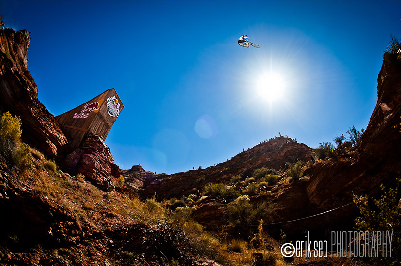Mike Hopkins jumping the 45 foot canyon gap at the 2010 Red Bull Rampage in Virgin, Utah