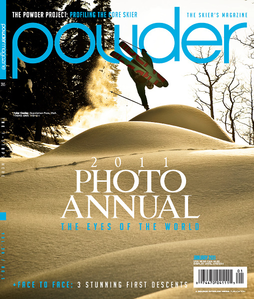 "2011 Powder Magazine Photo Annual Cover - Skier: Kyler Cooley.  Shot during the filming of ""Gunnie Season"" by 4Bi9 Media"