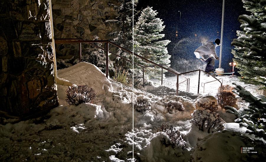 Tyler Barnes sliding a quad kinked C-rail in Ogden, Utah