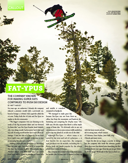 Freeskier Magazine - February 2011 - pp104 - Adam Delorme - Logan, UT - Level 1 Productions