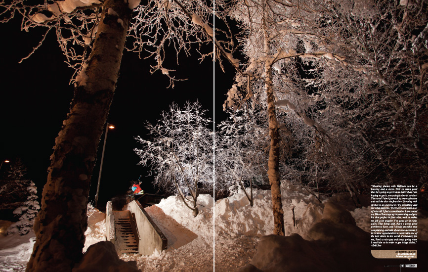 Freeskier Magazine 2013 Photo Annual - p68-69 - Tom Wallisch disastering a flat down ledge in Anchorage, Alaska - Level 1 Productions
