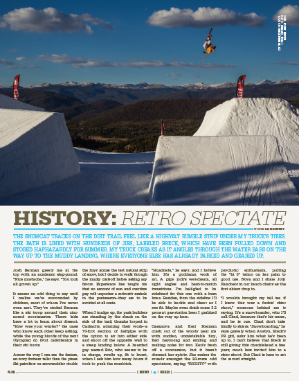 Freeskier Magazine 2013 Photo Annual - p86 - Bobby Brown gapping the half pipe step up feature in Breckenridge, Colorado - Level 1 Productions