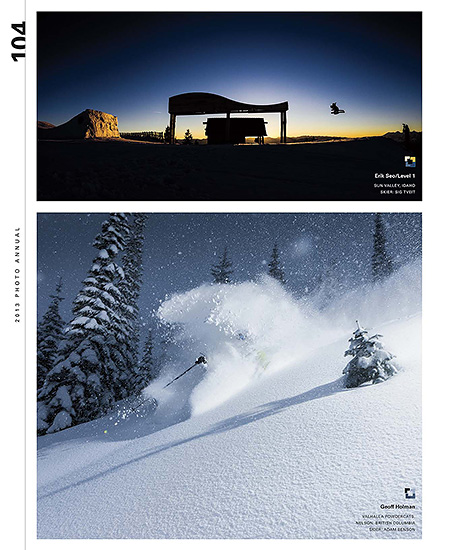 Powder Magazine 2013 Photo Annual - p104 - Sig Tveit at Sun Valley Resort, Idaho - Level 1 Productions