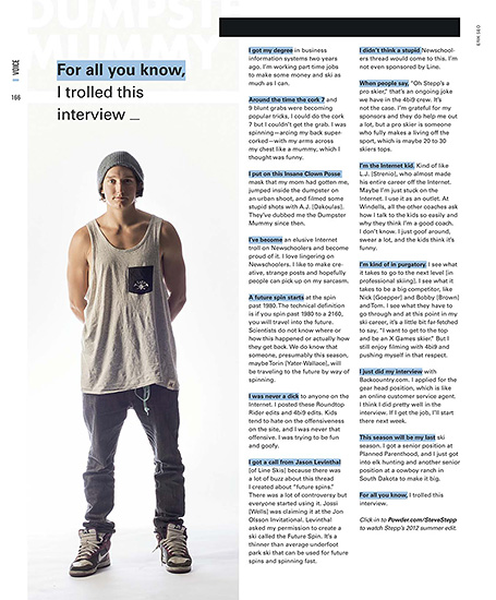 Powder Magazine 2013 Photo Annual - p166- Steve Stepp Voice profile